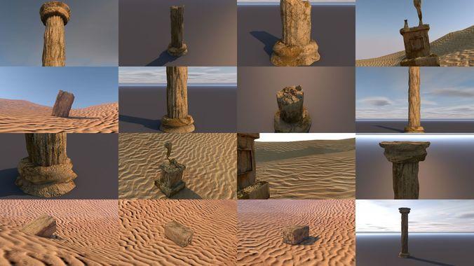 broken ancient column statue and block 3d model obj mtl 3ds fbx c4d stl dae 1