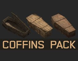 Apocalyptic horror cemetery lowpoly coffins pack 3D asset