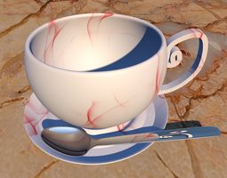 Teacup with Saucer Plate and Spoon 3D