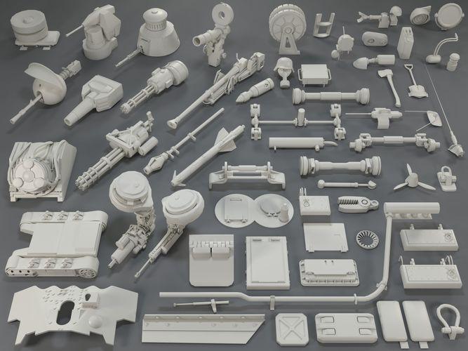 tank parts -61 pieces- collection-4 3d model max obj mtl fbx stl 1