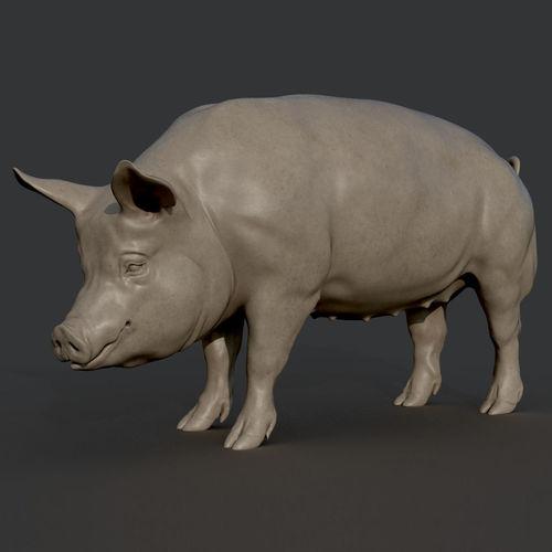 pig sculpture 3d model obj mtl stl 1