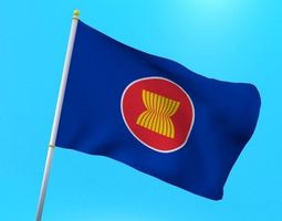 Asean flag animated low poly 3D