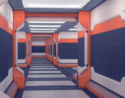 3D asset Spaceship Sci-fi interior kitbash set 03