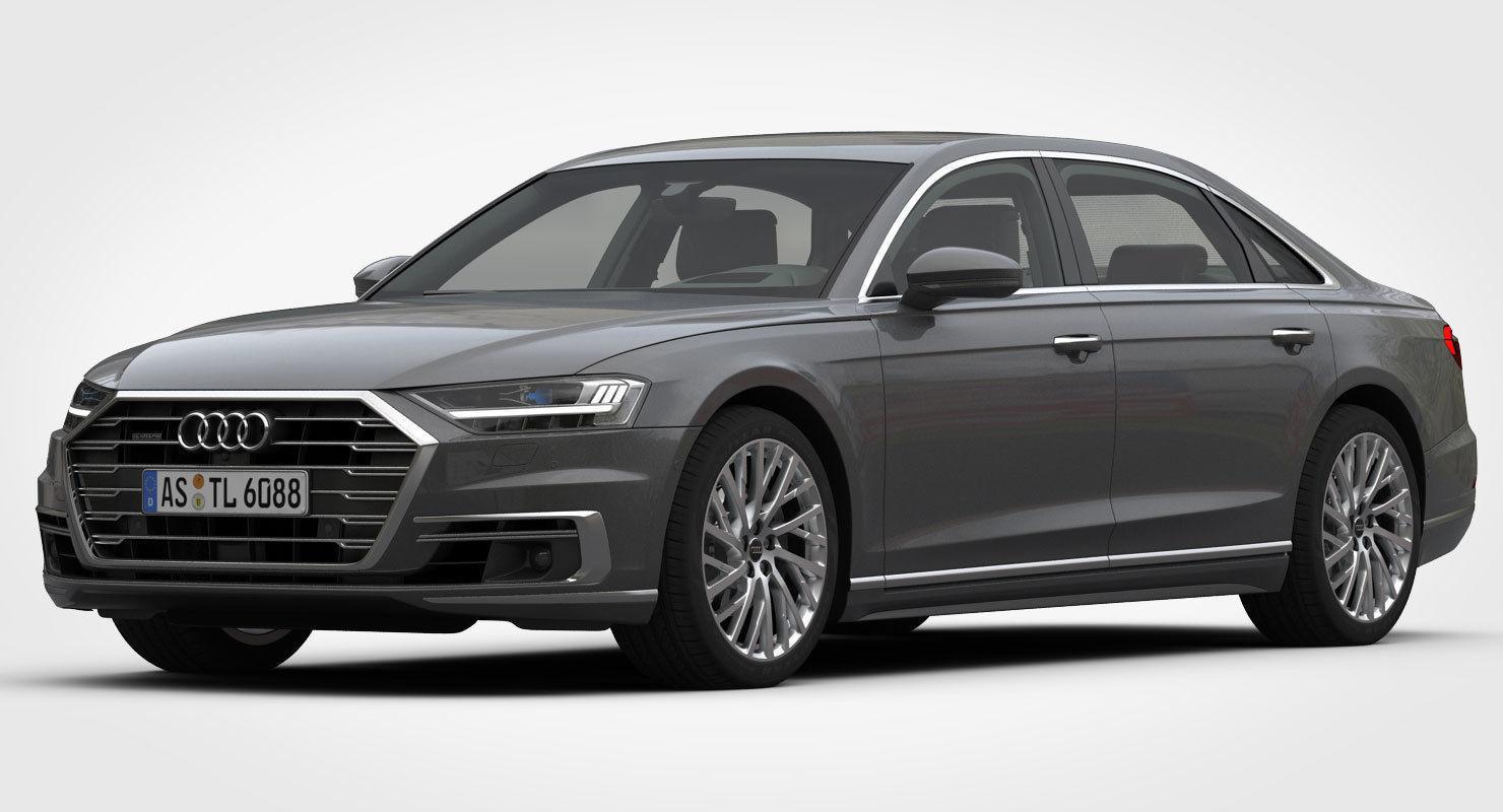 Audi A8 Long 2018 3D model MAX OBJ 3DS FBX