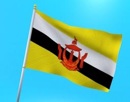 3D model Brunei flag animated low poly