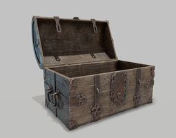 3D asset game-ready PBR Old Spanish Treasure Chest