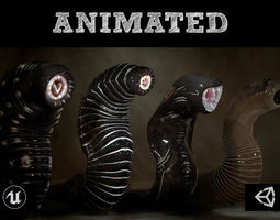 Giant Leeches Collection 3D asset