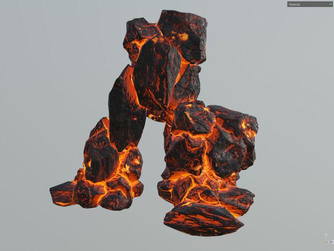 Low Poly Realistic Lava Block Modular L7 3d Model