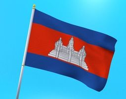 3D model Cambodian flag animated low poly