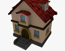 Low-poly Cartoon Medieval House 3D model