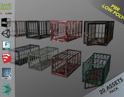 3D model game-ready Animal Cage