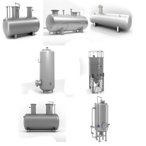 set of seven different welded metal tanks 3d model max obj mtl 3ds fbx 1