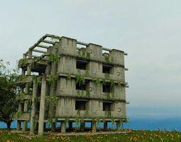 3D asset DAMAGED OLD ABANDONED BUILDING POST APOCALYPSE