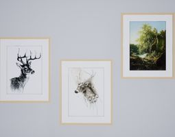 North style deer and nature painting 3D model
