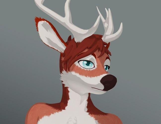deer anthro 3d model low-poly rigged obj mtl fbx blend tga 1