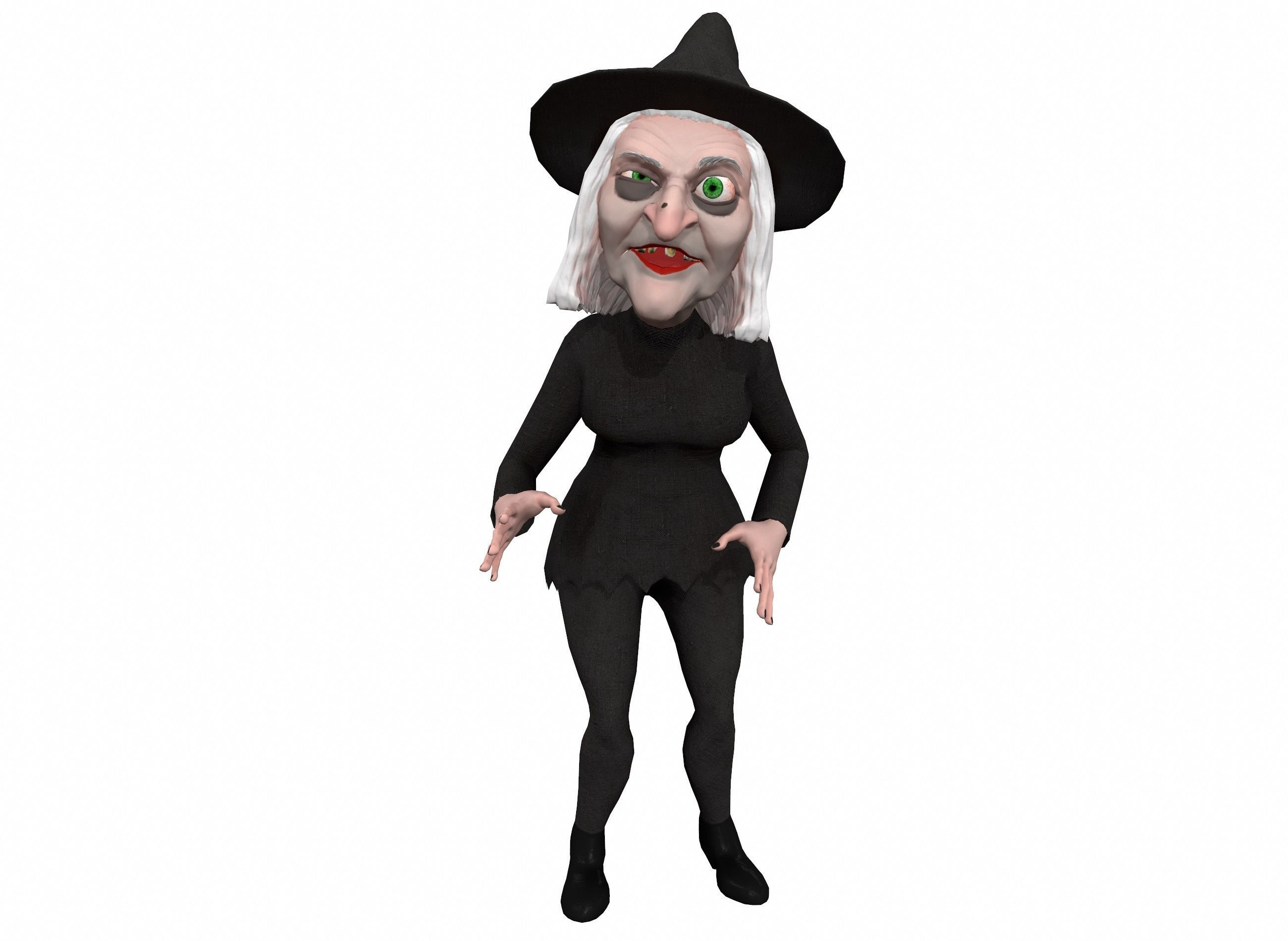 Cartoon witch rigged animated game ready 3D character