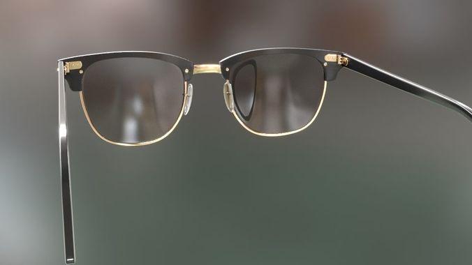 75b42dcb0d rayban clubmaster glasses 3d model 3d model max obj mtl fbx 17