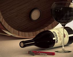 wine bottle and accessories 3d model