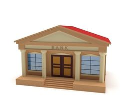3D model VR / AR ready Low Poly Bank