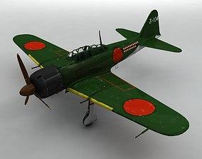 3D asset low-poly A6M5 Zero Aircraft Green