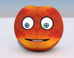 Animated Fruit Nectarine Character - Mouth and 3D model 1