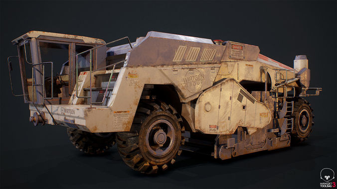 wirtgen 200 game ready pbr vehicle 3d model fbx tga 1 ...