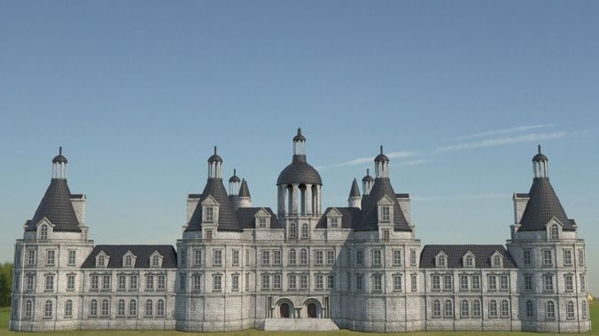 low poly chateau-castle - inspired by chateau de chambord - pbr 3d model low-poly max obj mtl fbx tga uasset 1