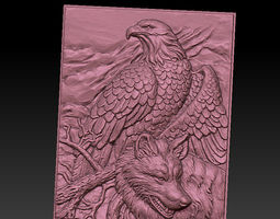 3D print model wolf and eagle