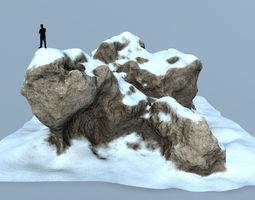 3D model game-ready snow rocks