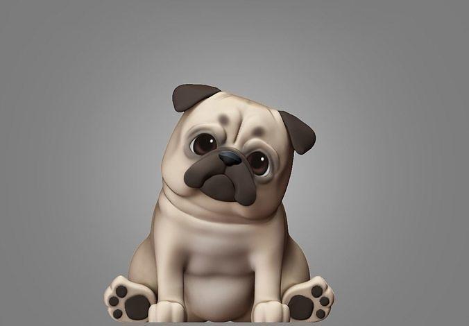 pug dog 3d print model 3d model stl 1