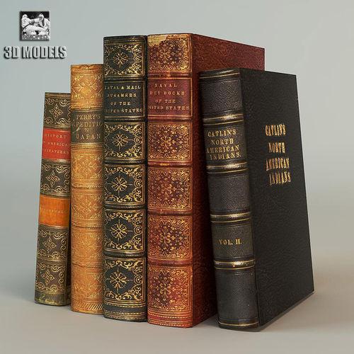 old books 3d model obj mtl 3ds fbx dxf dwg 1