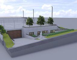 Subterranean Garage with tennis court 3D
