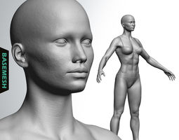 3D Muscular Female Basemesh girl