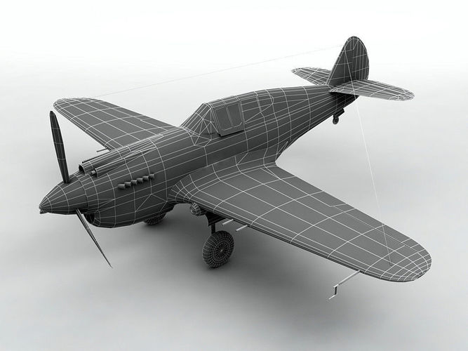 curtiss p40-b aircraft wwii 3d model low-poly animated max obj mtl 3ds dxf stl wrl wrz 1