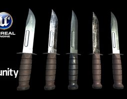 Realistic High Quality Low Poly Combat Knife 3D asset