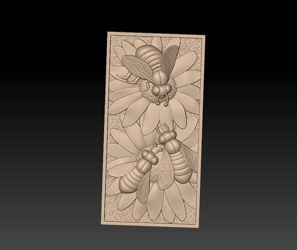 bas-relief of bees 3d model obj mtl stl 1