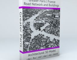 french Greater Paris Streets and Buildings 3D