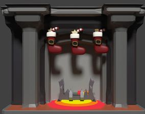 3D model animated Fire Place