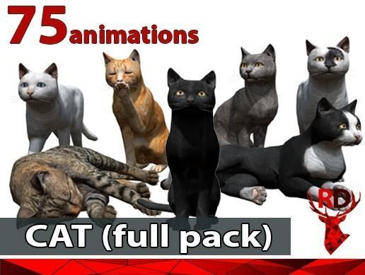 cat full pack 3d model low-poly rigged animated fbx blend 1