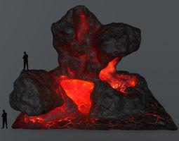 3D model low-poly lava rock cliff