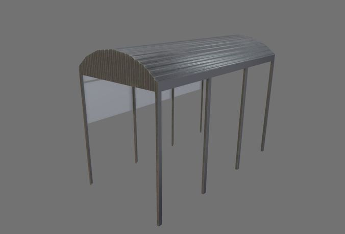 stainless roof 3d model low-poly fbx 1