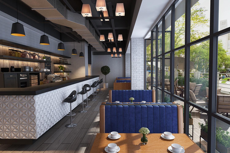 Coffee garden restaurant modern decoration very Clean scene | 3D model