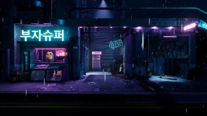 cyberpunk grunge sci-fi asset pack 3d model low-poly obj mtl fbx uasset 1