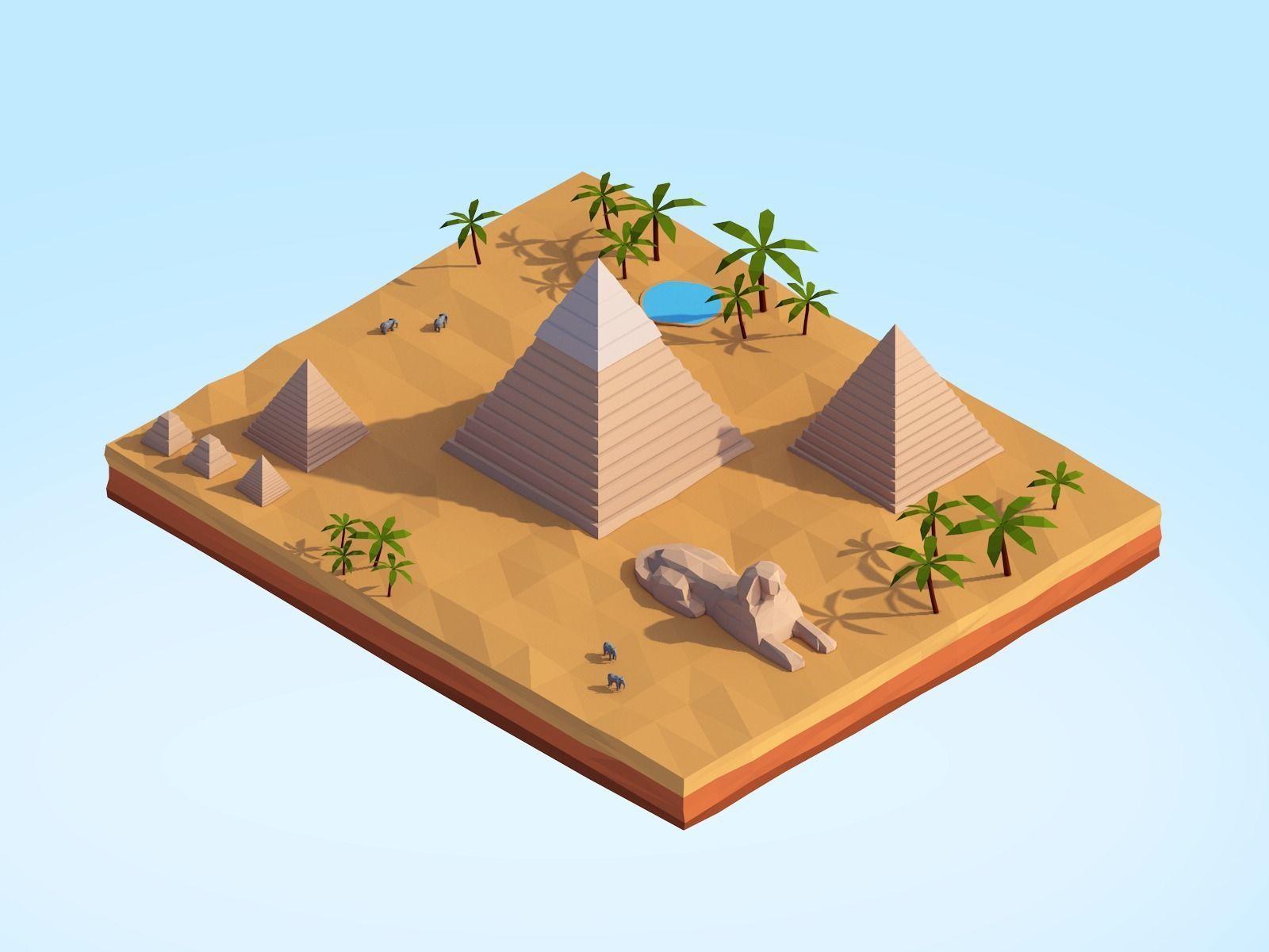 Low Poly Egipt Piramids Landmark