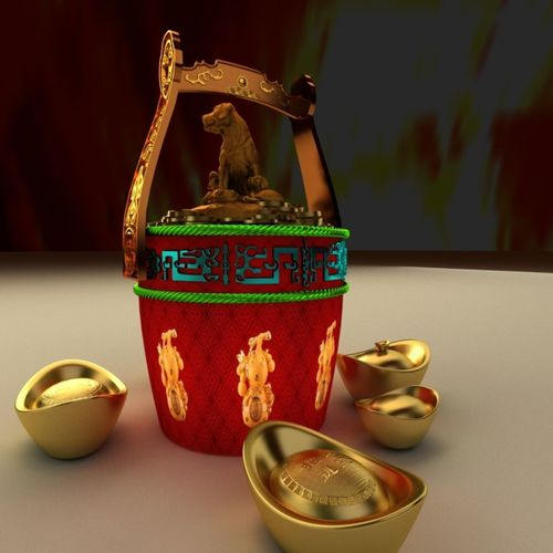 Chinese Gold Ingot Bucket Model Max Obj Mtl 1