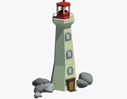 Cartoon lighthouse 3D asset low-poly
