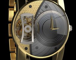 3D gold premium watch
