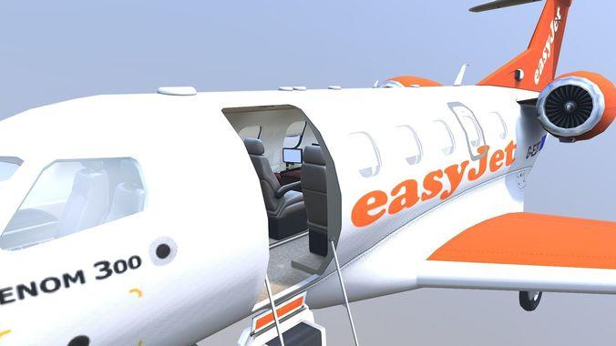 ultimate embraer phenom 300 easyjet version ii 3d model max fbx 1