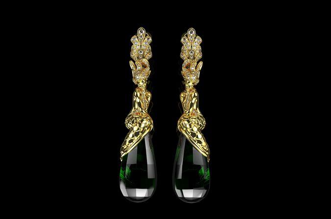 mermaid earrings in gold mermaid jewelry 3d model stl 3dm 1