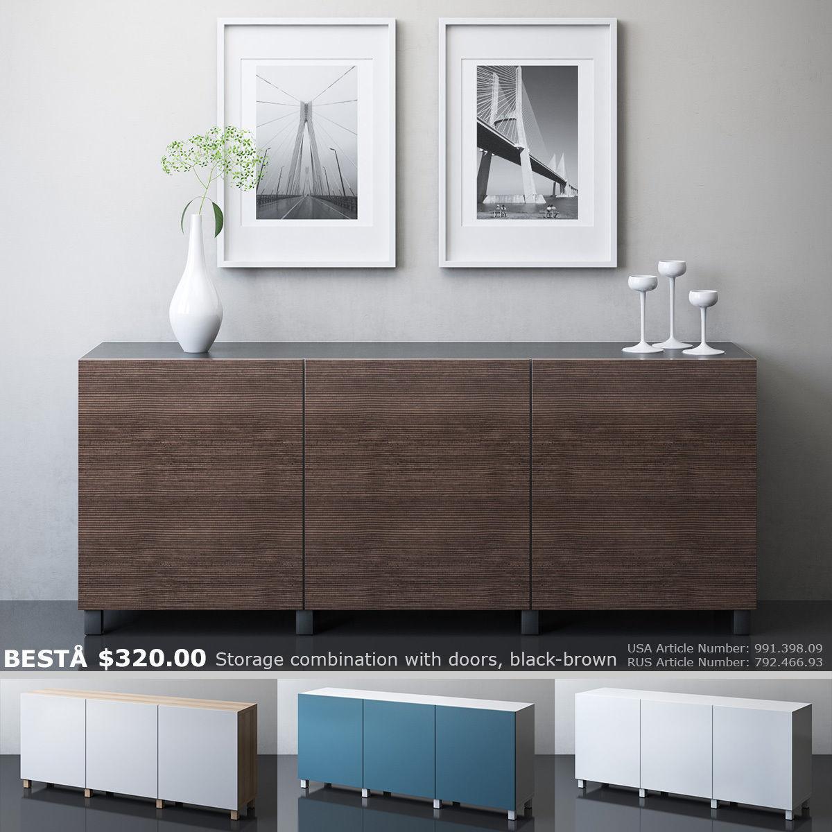 IKEA BESTA Storage Combination With Doors 3D Model